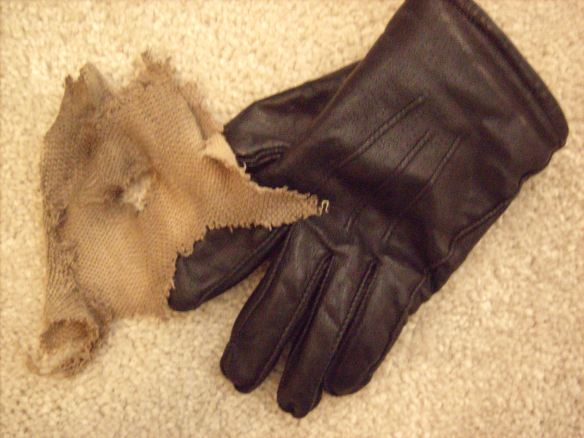 The remains of a pair of gloves