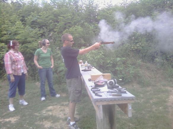Todd shooting black powder gun